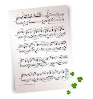 sheet music and shamrocks