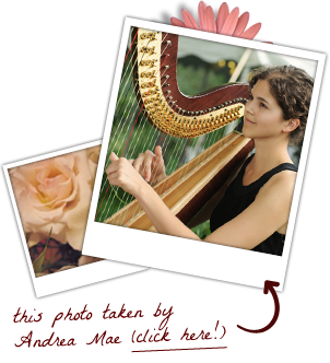stephanie claussen playing harp at a wedding