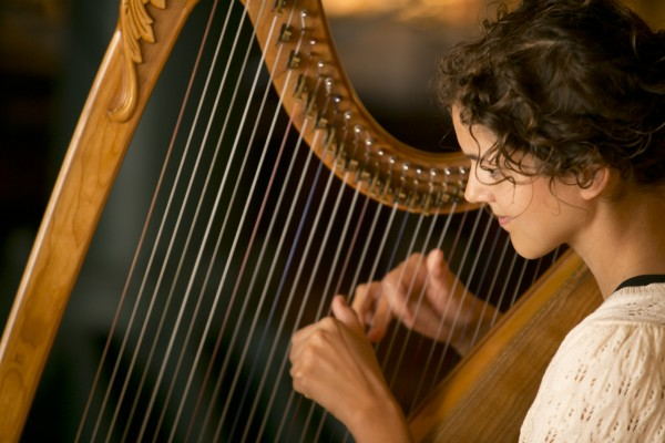 Lever harp - 5-feet tall, winsome, Celtic in appearance, has a bright sound, good for Celtic and Renaissance music. Photo credit: Chad Richardson