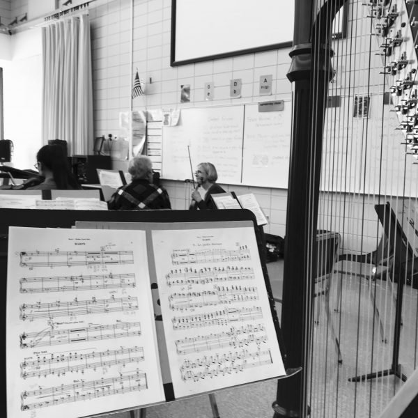 harp music stand rehearsal