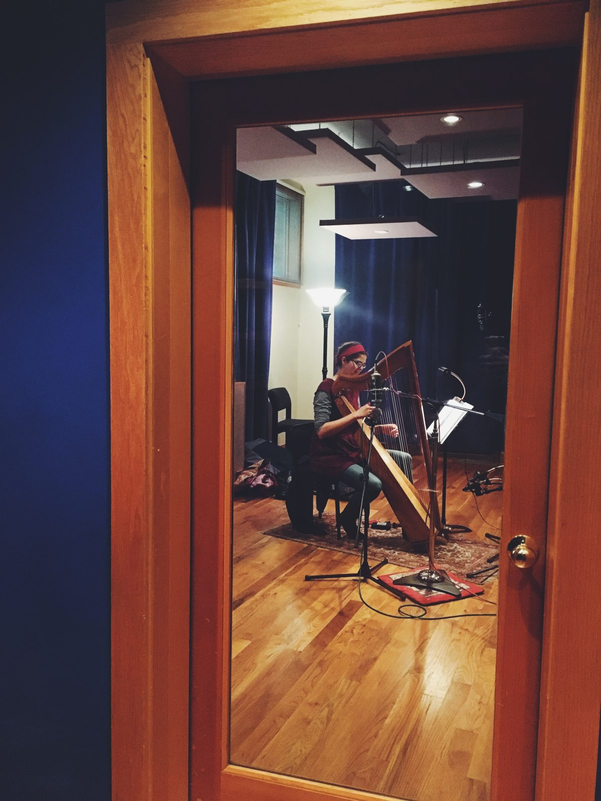 harp in the recording studio