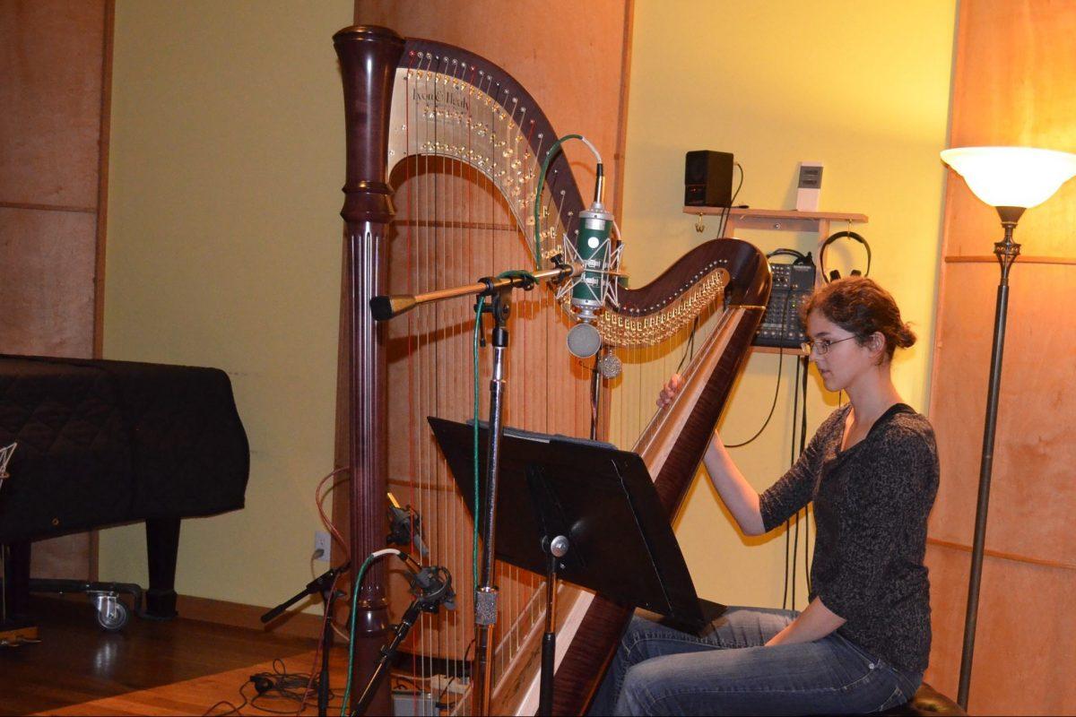 harpist in studio