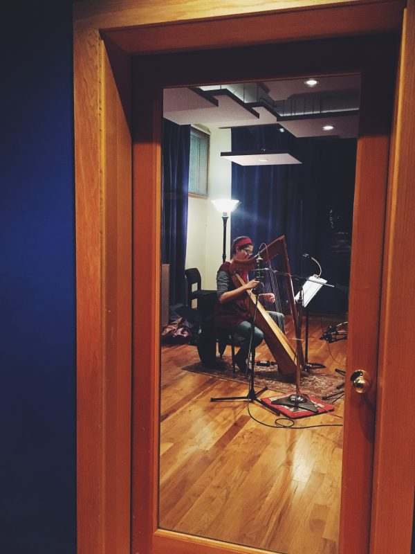harp in the recording studio